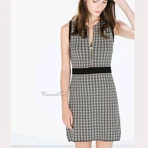 Zara NWT Jacquard Dress with Zips